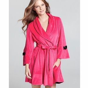 NWT Betsey Johnson Intimates Velour Robe Bow Hot